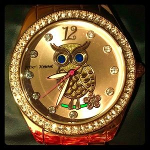 Betsey Johnson-OWL Watch-Rose Gold.EUC!Works Great